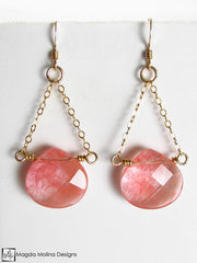 The Faceted Cherry Quartz & Gold Chain Dangle Earrings