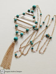 The Long Turquoise And Gold Diamond Shaped Necklace With Tassel
