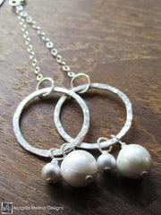 The Hammered Silver Rings On Chains With Freshwater Pearls