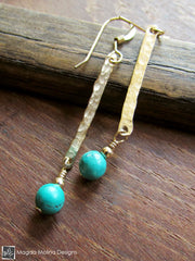 The Hammered Gold Bar And Turquoise Earrings