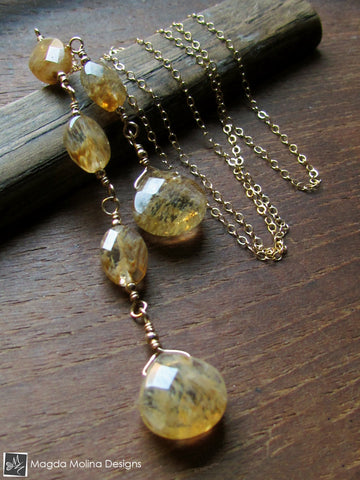 The Delicate Gold Chain Lariat With Rutilated Quartz Drops