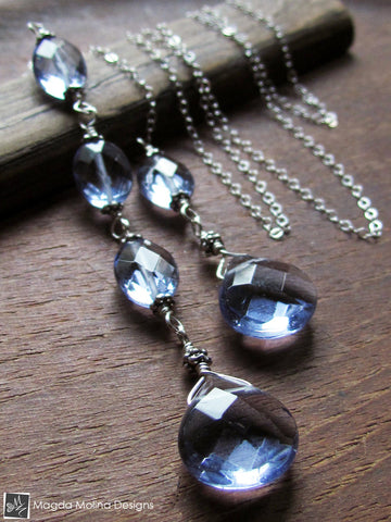 The Delicate Silver Chain Lariat With Faceted Blue Quartz