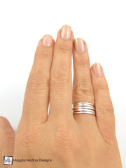 The Five Hammered Silver Stackable Eternity Rings