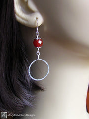 The Faceted Carnelian & Hand Hammered Silver Hoop Earrings
