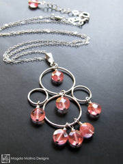 The Silver Bubble Cluster And Faceted Cherry Quartz Necklace