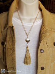 The Long Gold Chain Necklace With Silk Tassel And Crystal Quartz