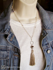 The Long Silver Chain Necklace With Champagne Silk Tassel And Agate