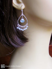 The Silver Teardrops And Faceted Moonstone Chandelier Earrings