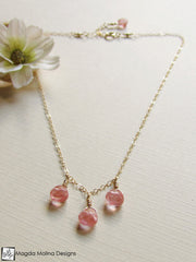 Mini Goddess (children) Cherry Quartz Drops Necklace