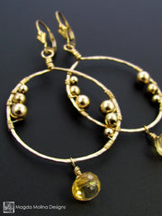 The Large Wire Wrapped Gold Hoops With Citrine Gem Drops