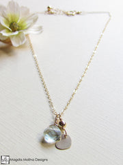 Mini Goddess (children) Tiny Heart Charm Necklace With Quartz Drop
