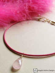 Mini Goddess (children) Blue or Pink Leather & Quartz Drop Necklace