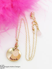 "Gold or silver Mini Goddess (children) affirmation necklace stamped with ""loved"" and adorned with colorful gemstones."