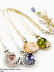 "Mini Goddess (children) ""loved"" Necklace With Colorful Gemstones"