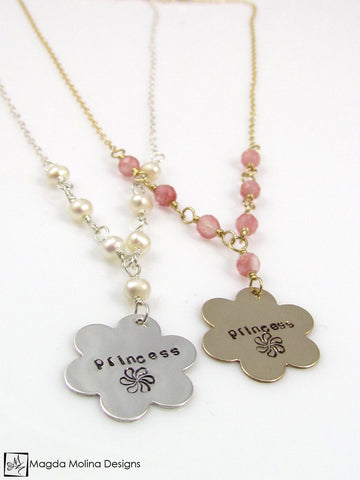 "Mini Goddess (children) Hand Stamped ""princess"" Flower Necklace"
