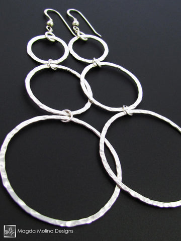 "The ""7 Different Ways"" Hammered Silver Bubbles Earrings"