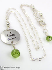 "Mini Goddess (children) ""i love mom/dad"" Necklace With Peridot Gems"