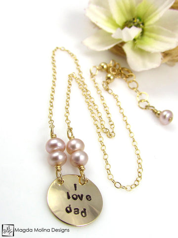 "Mini Goddess (children) ""i love mom/dad"" Stamped Gold Necklace"