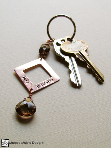 "Copper Keychain With ""LOVE LIBERATES"" Affirmation And Smokey Quartz"