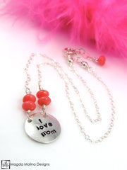 "Mini Goddess (children) ""i love mom/dad"" Stamped Silver Necklace"