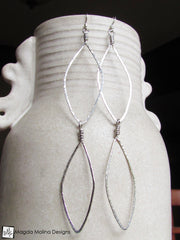 The Long Hammered Silver Feather Earrings
