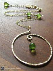 The Hammered Silver or Gold Spiral Necklace