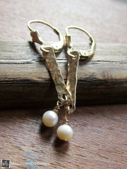The Mini Hammered Gold Bars And Pearls Dangle Earrings
