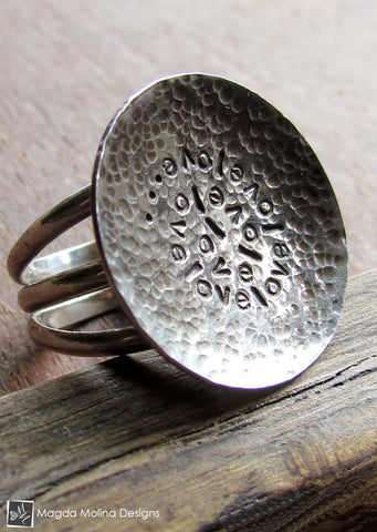 The Large Silver LOVE: INFINITE Affirmation Ring