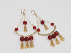 The Stunning Gold And Carnelian Chandelier Tassel Earrings