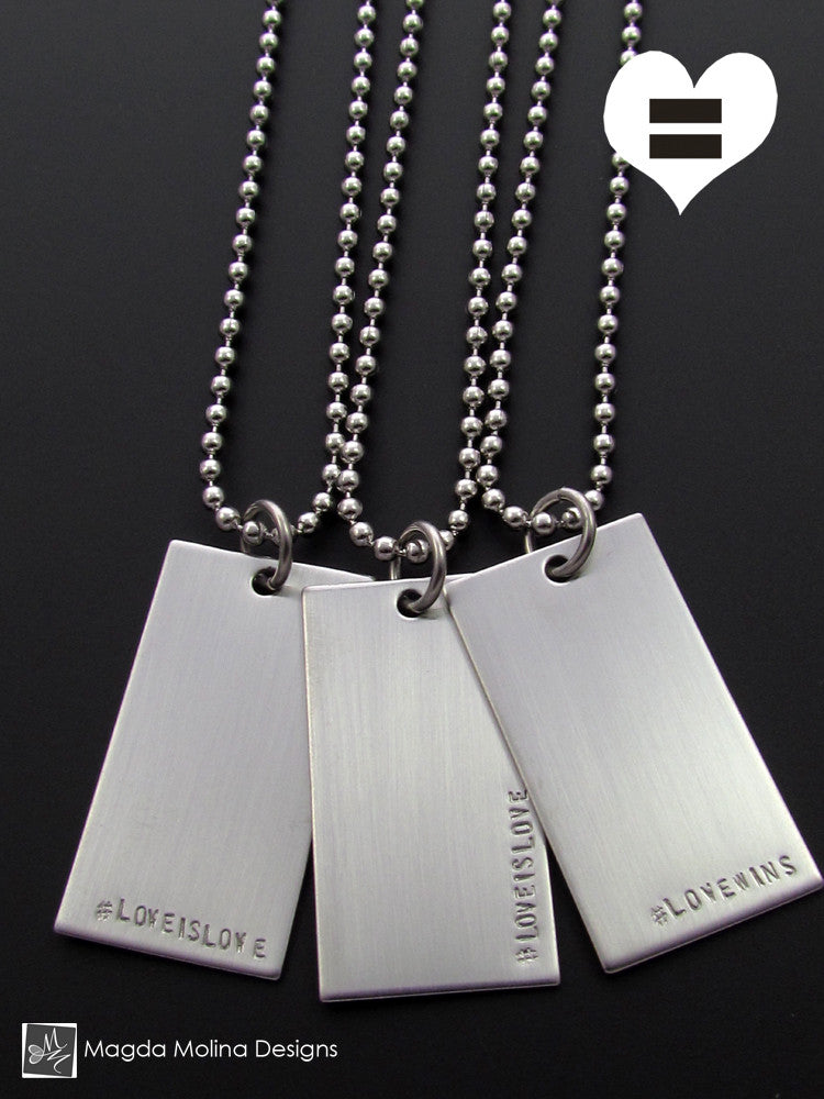 The #LOVEWINS or #LOVEISLOVE Stainless Steel Omnisex Necklace