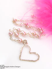 Mini Goddess (children) Pink Pearls And Hammered Silver Heart Necklace