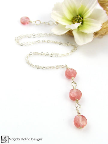 Mini Goddess (children) Triple Cherry Quartz on Delicate Chain Necklace