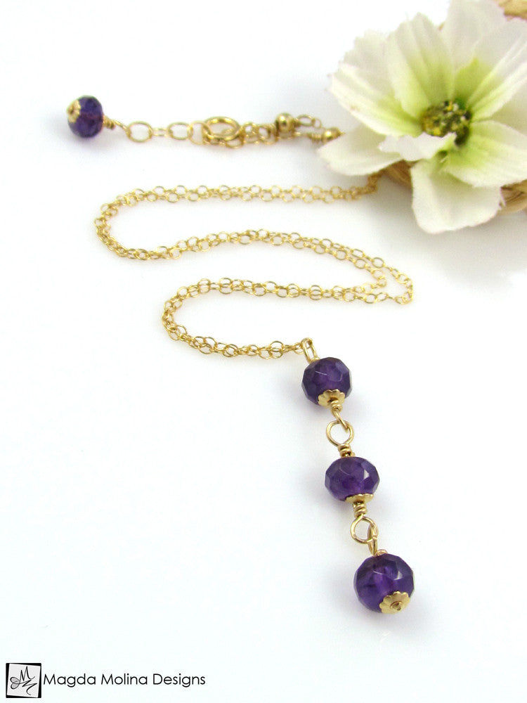 Mini Goddess (children) Triple Amethyst on Delicate Chain Necklace