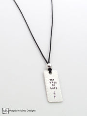 "The ""POWERED BY LOVE"" Hand Stamped Omnisex Silver Tag Necklace"