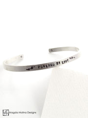 "The ""POWERED BY LOVE"" Hand Stamped Omnisex Silver Cuff Bracelet"