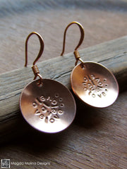 The Stamped Copper LOVE: INFINITE Spiral Affirmation Earrings