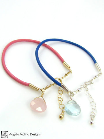 Mini Goddess (children) Blue or Pink Leather & Quartz Drop Bracelet