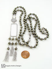 "The Gorgeous Silver and Pyrite Necklace With Tassels And ""LOVE"" Charm"