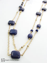 The Long And Elegant Lapis Lazuli and Hammered Gold Necklace
