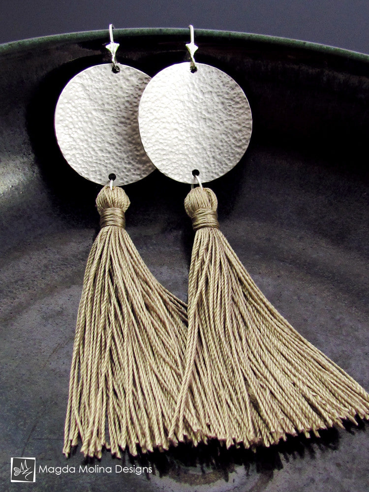 The Hammered Full Moon Silver Earrings With Handmade Silk Tassel