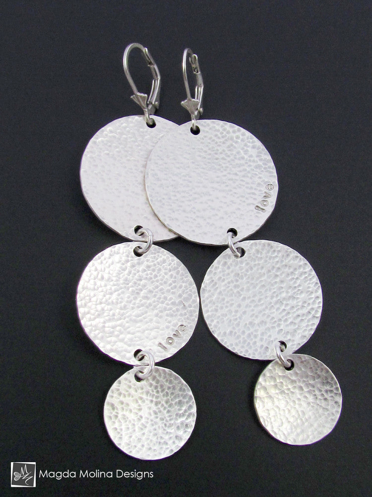 The Triple Hammered Silver Coin Earrings With Secret Love Note