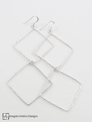 The Long and Delicate Hammered Silver Double Diamond Earrings