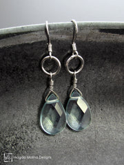 The Silver or Gold And Light Blue Quartz Pear Drop Earrings