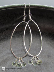 The Hammered Silver & Green Amethyst Oval Hoop Earrings