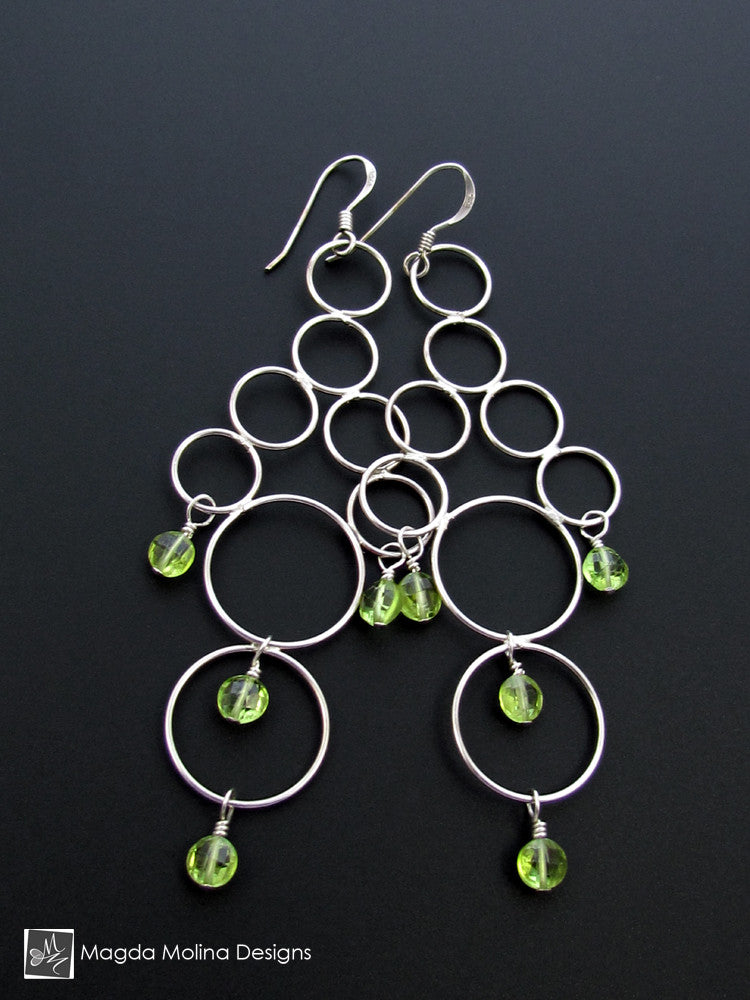 The Silver Bubbles Chandelier Earrings With Peridot Gems