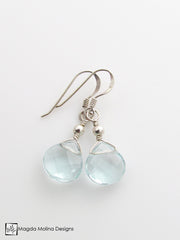 The Gold or Silver And Light Blue Quartz Mini Drop Earrings