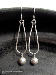 The Hammered Silver Teardrop Earrings With Light Grey Freshwater Pearls