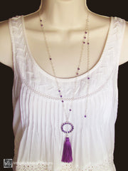 The Long Silver Chain Necklace With Purple Silk Tassel And Woven Amethyst On Ring