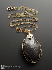 The Mediterranean Stone Wire Wrapped in Gold Long Chain Necklace (one of a kind)