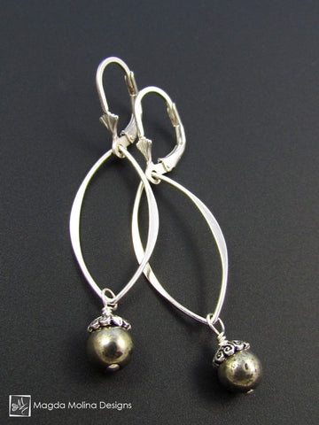 The Elegant Silver Leaves And Pyrite Dangle Earrings